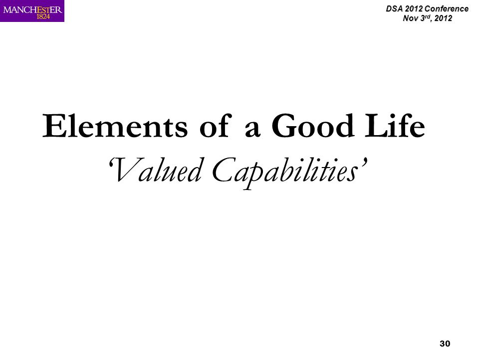 DSA 2012 Conference Nov 3 rd, 2012 30 Elements of a Good Life Valued Capabilities