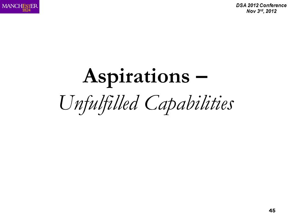 DSA 2012 Conference Nov 3 rd, 2012 45 Aspirations – Unfulfilled Capabilities