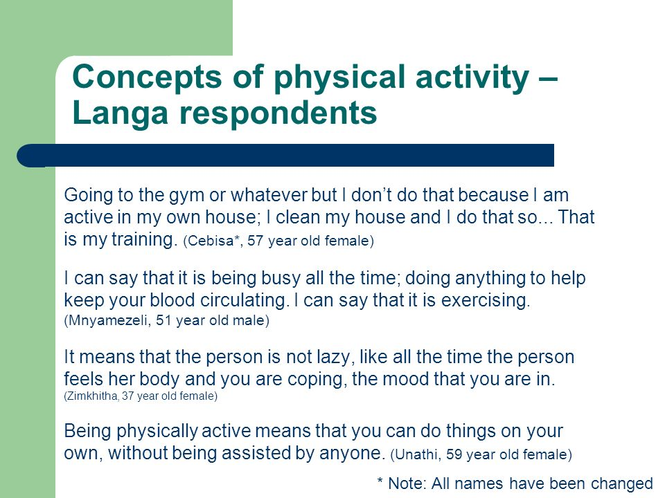 Health from, or for, physical activity.