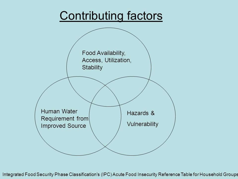 Hazards & Vulnerability Food Availability, Access, Utilization, Stability Human Water Requirement from Improved Source Integrated Food Security Phase Classification s (IPC) Acute Food Insecurity Reference Table for Household Groups Contributing factors