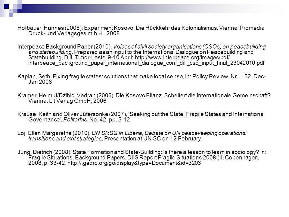 Hofbauer, Hannes (2008): Experiment Kosovo. Die Rückkehr des Kolonialismus.