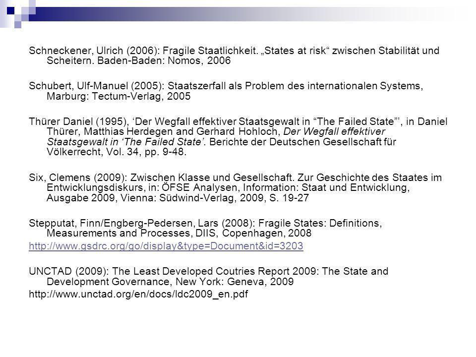 Schneckener, Ulrich (2006): Fragile Staatlichkeit.