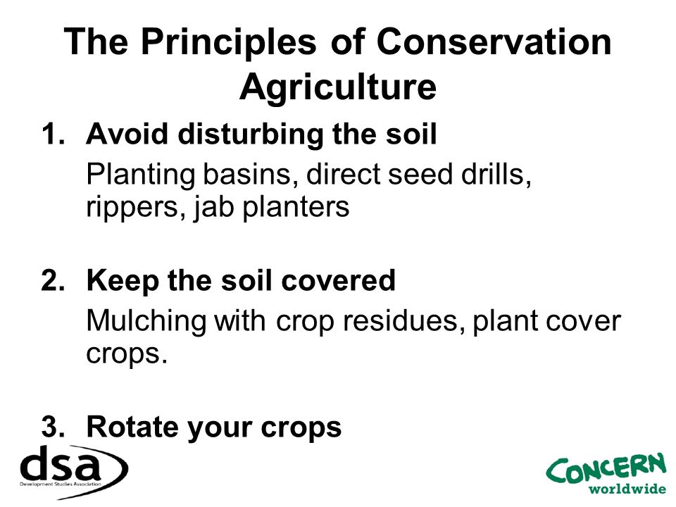 The Principles of Conservation Agriculture 1.Avoid disturbing the soil Planting basins, direct seed drills, rippers, jab planters 2.Keep the soil cove
