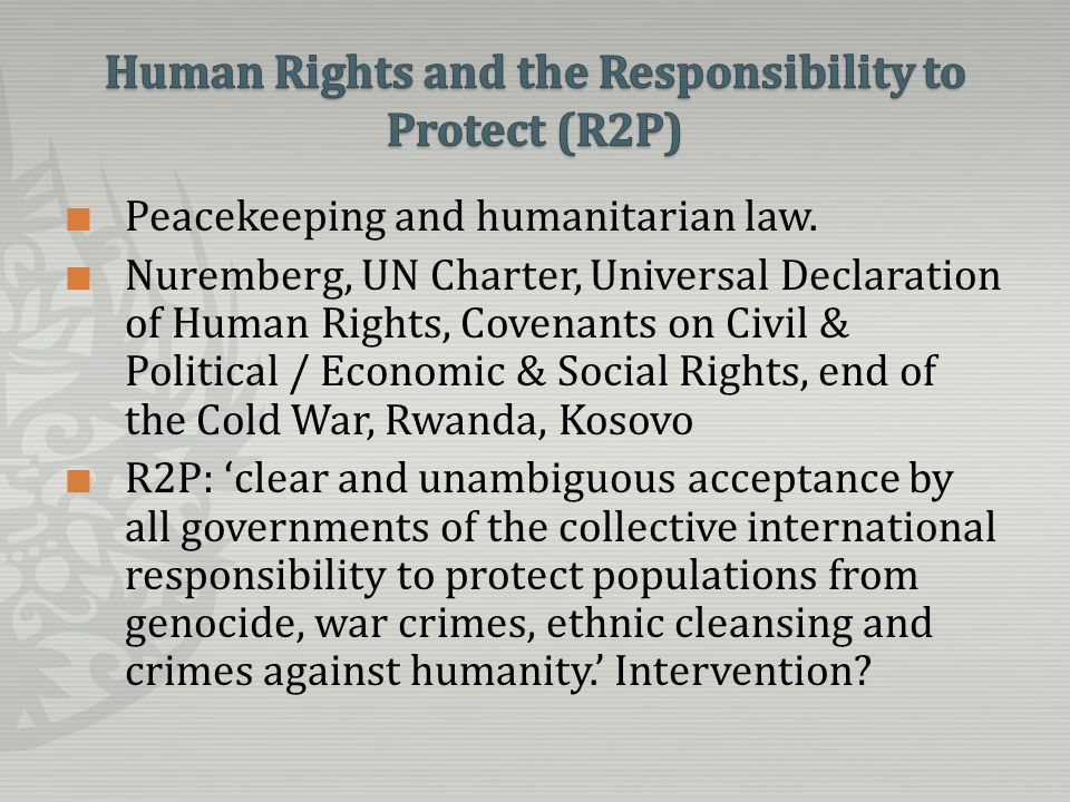 Peacekeeping and humanitarian law.