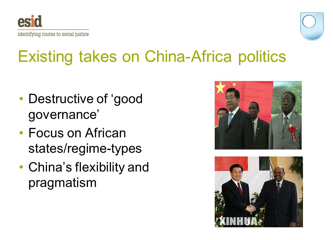 Existing takes on China-Africa politics Destructive of good governance Focus on African states/regime-types Chinas flexibility and pragmatism