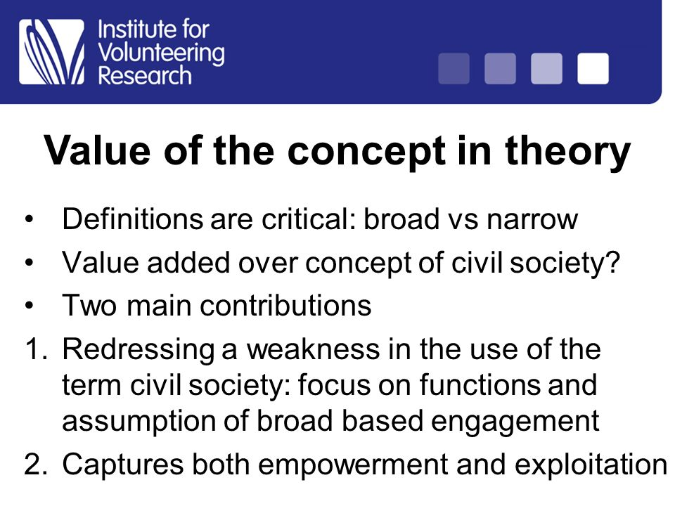 Structure of Country Analysis Definitions are critical: broad vs narrow Value added over concept of civil society? Two main contributions 1.Redressing