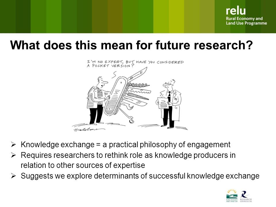 Knowledge exchange = a practical philosophy of engagement Requires researchers to rethink role as knowledge producers in relation to other sources of expertise Suggests we explore determinants of successful knowledge exchange What does this mean for future research