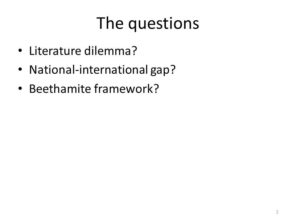 The questions Literature dilemma? National-international gap? Beethamite framework? 2