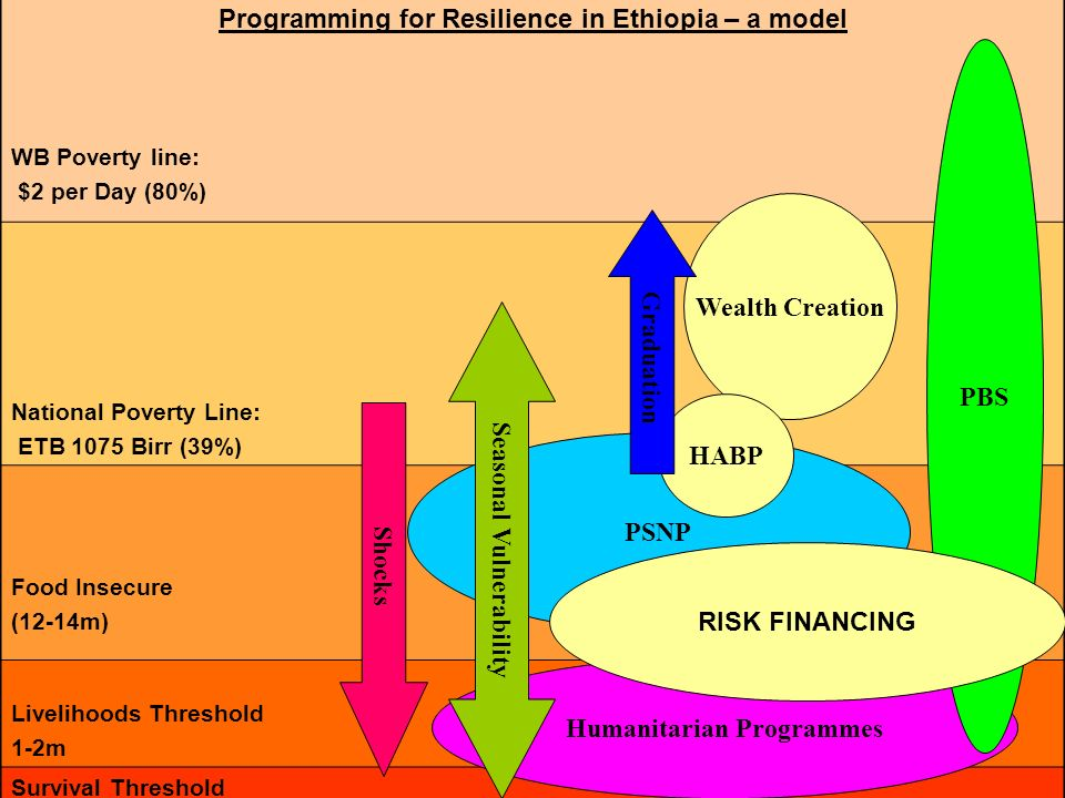 Programming for Resilience in Ethiopia – a model WB Poverty line: $2 per Day (80%) National Poverty Line: ETB 1075 Birr (39%) Food Insecure (12-14m) L