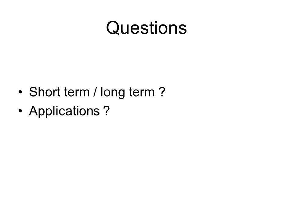 Questions Short term / long term Applications