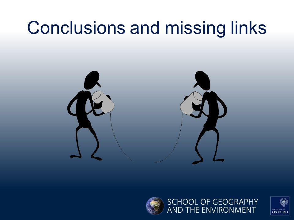 Conclusions and missing links
