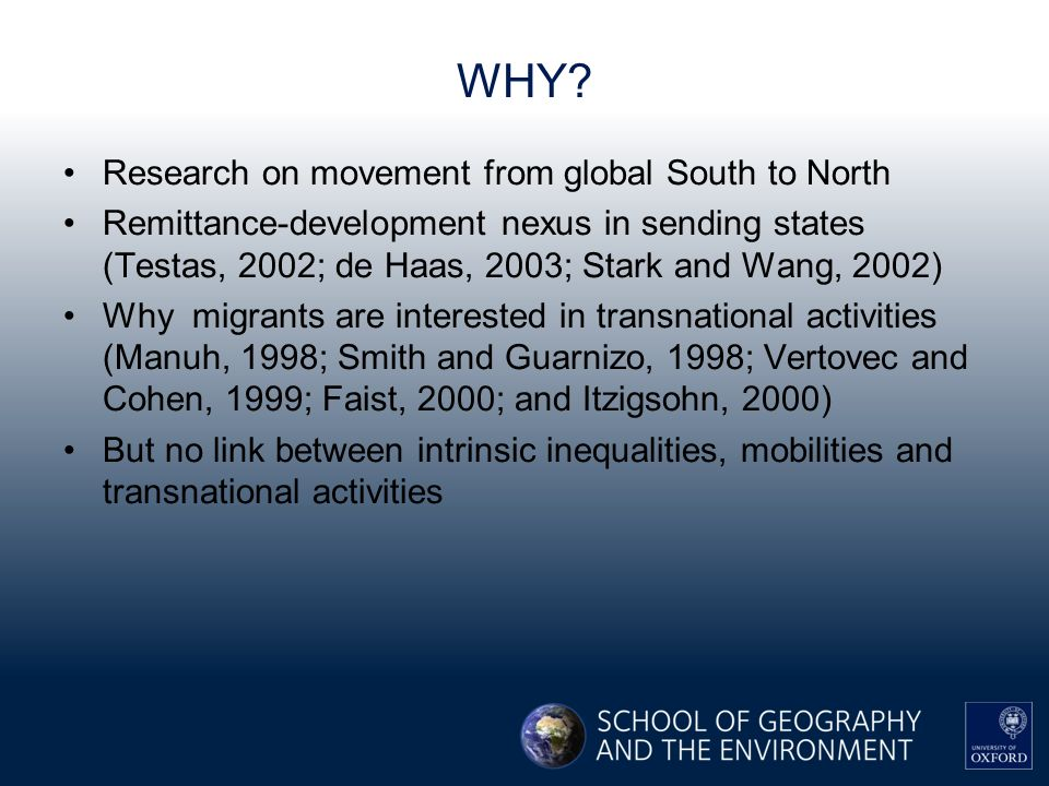 WHY? Research on movement from global South to North Remittance-development nexus in sending states (Testas, 2002; de Haas, 2003; Stark and Wang, 2002