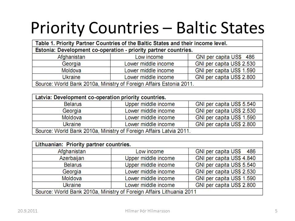 Priority Countries – Baltic States 20.9.20115Hilmar Þór Hilmarsson