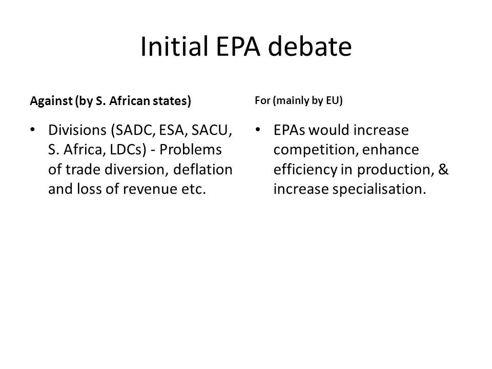 Initial EPA debate Against (by S. African states) Divisions (SADC, ESA, SACU, S.