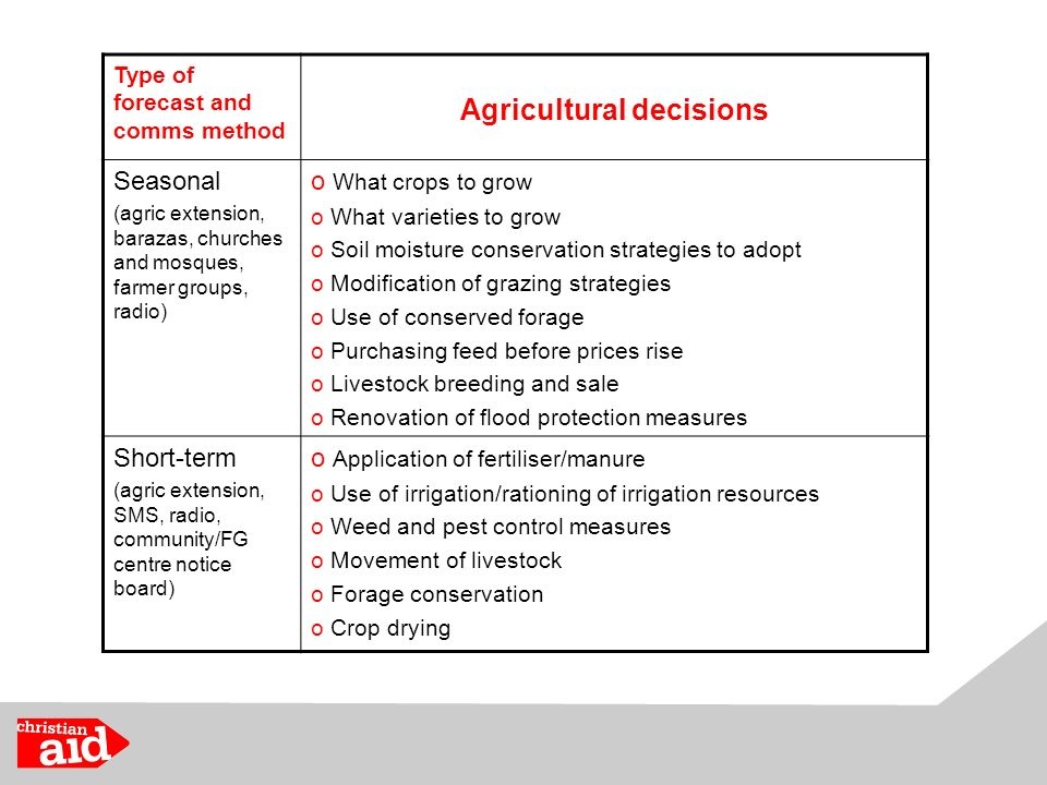 Type of forecast and comms method Agricultural decisions Seasonal (agric extension, barazas, churches and mosques, farmer groups, radio) o What crops to grow o What varieties to grow o Soil moisture conservation strategies to adopt o Modification of grazing strategies o Use of conserved forage o Purchasing feed before prices rise o Livestock breeding and sale o Renovation of flood protection measures Short-term (agric extension, SMS, radio, community/FG centre notice board) o Application of fertiliser/manure o Use of irrigation/rationing of irrigation resources o Weed and pest control measures o Movement of livestock o Forage conservation o Crop drying