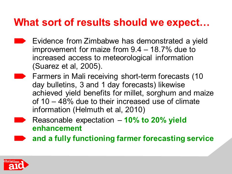 What sort of results should we expect… Evidence from Zimbabwe has demonstrated a yield improvement for maize from 9.4 – 18.7% due to increased access to meteorological information (Suarez et al, 2005).