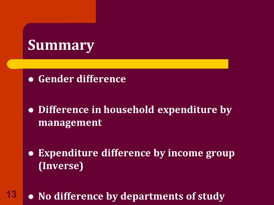 Summary Gender difference Difference in household expenditure by management Expenditure difference by income group (Inverse) No difference by departme