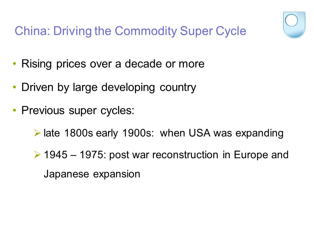 China: Driving the Commodity Super Cycle Rising prices over a decade or more Driven by large developing country Previous super cycles: late 1800s early 1900s: when USA was expanding 1945 – 1975: post war reconstruction in Europe and Japanese expansion
