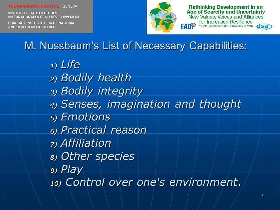 7 M. Nussbaums List of Necessary Capabilities: 1) Life 2) Bodily health 3) Bodily integrity 4) Senses, imagination and thought 5) Emotions 6) Practica