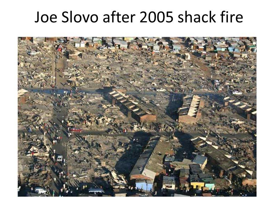 Joe Slovo after 2005 shack fire