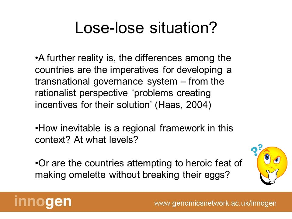 Lose-lose situation? A further reality is, the differences among the countries are the imperatives for developing a transnational governance system –