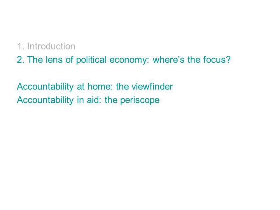 1. Introduction 2. The lens of political economy: wheres the focus.