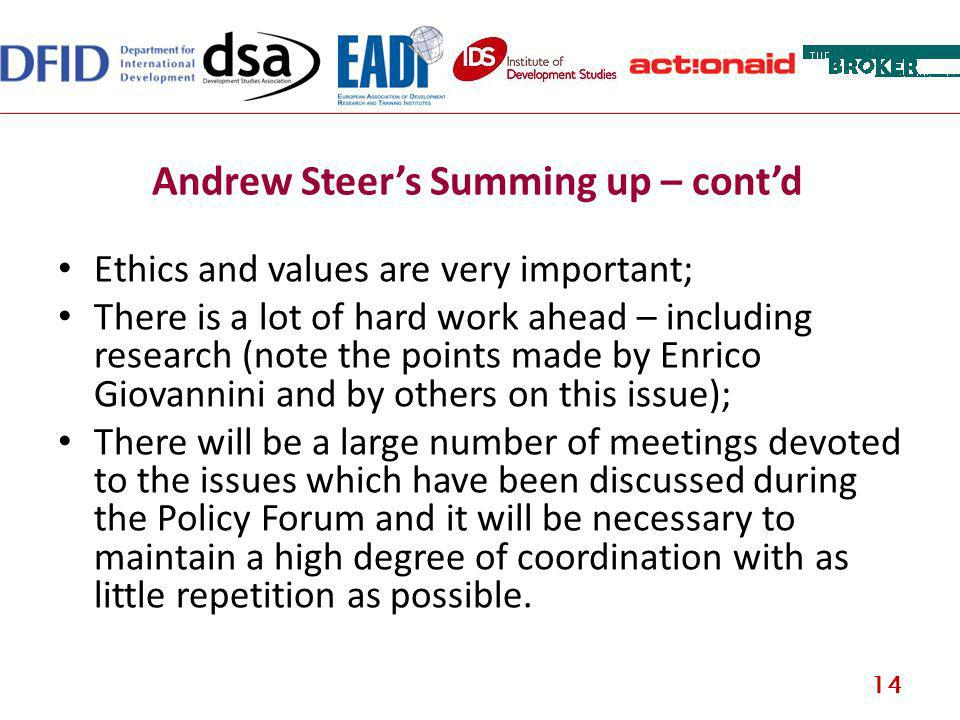 Andrew Steers Summing up – contd Ethics and values are very important; There is a lot of hard work ahead – including research (note the points made by