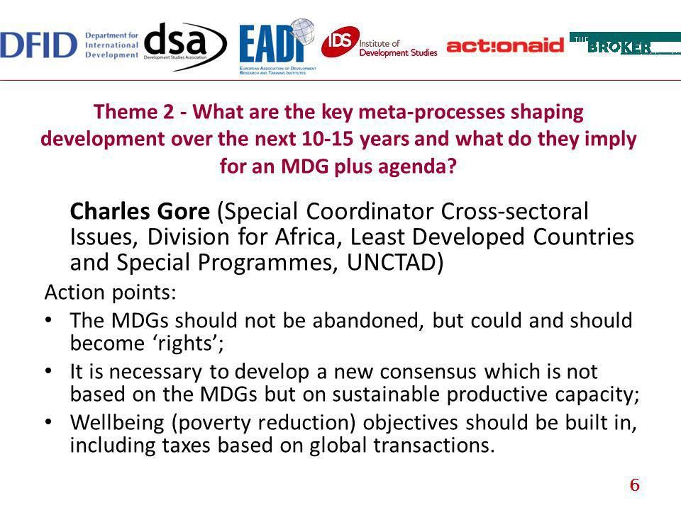 Theme 2 - What are the key meta-processes shaping development over the next 10-15 years and what do they imply for an MDG plus agenda? Charles Gore (S