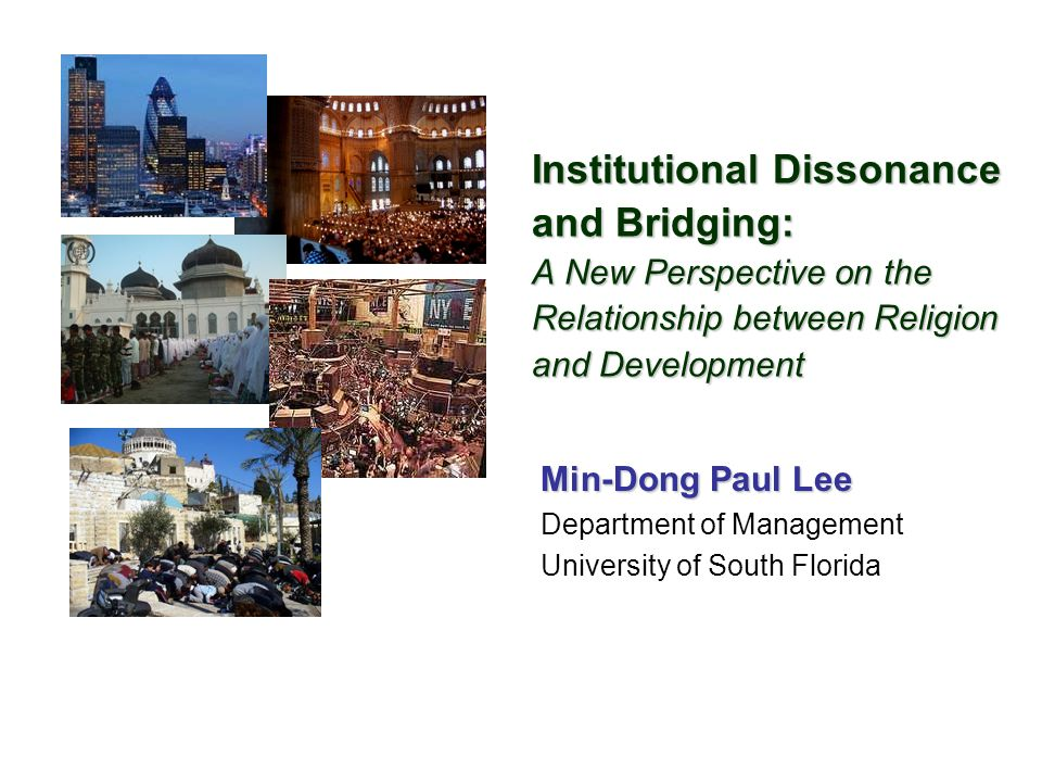 Institutional Dissonance and Bridging: A New Perspective on the Relationship between Religion and Development Min-Dong Paul Lee Department of Management University of South Florida