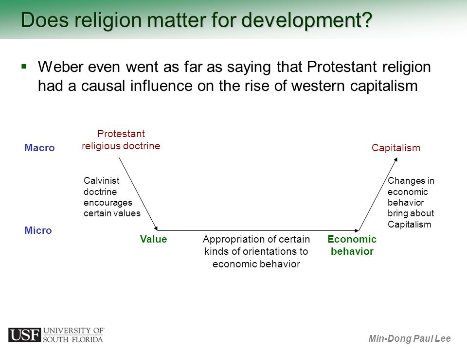 Min-Dong Paul Lee Does religion matter for development? Calvinist doctrine encourages certain values Changes in economic behavior bring about Capitali