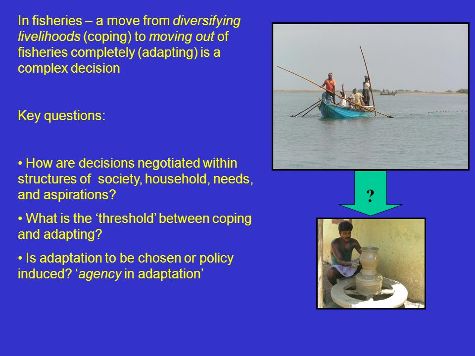 In fisheries – a move from diversifying livelihoods (coping) to moving out of fisheries completely (adapting) is a complex decision Key questions: How are decisions negotiated within structures of society, household, needs, and aspirations.