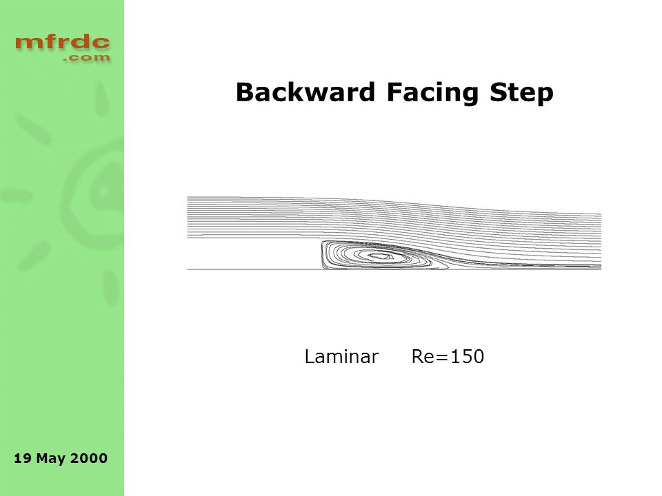 19 May 2000 Backward Facing Step Laminar Re=150