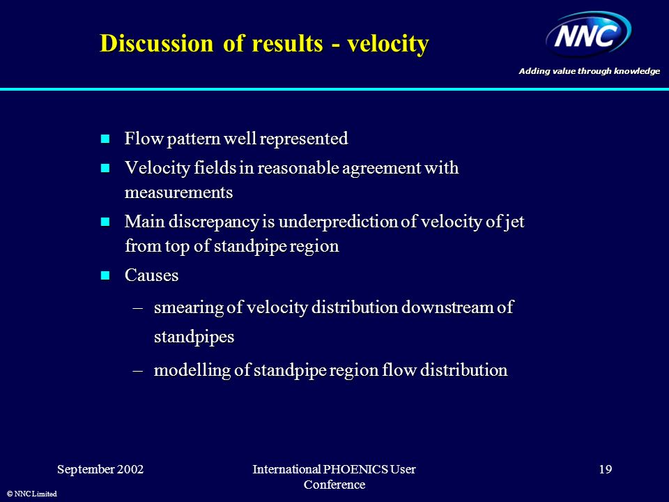 Adding value through knowledge © NNC Limited September 2002International PHOENICS User Conference 19 Discussion of results - velocity Flow pattern well represented Flow pattern well represented Velocity fields in reasonable agreement with measurements Velocity fields in reasonable agreement with measurements Main discrepancy is underprediction of velocity of jet from top of standpipe region Main discrepancy is underprediction of velocity of jet from top of standpipe region Causes Causes –smearing of velocity distribution downstream of standpipes –modelling of standpipe region flow distribution