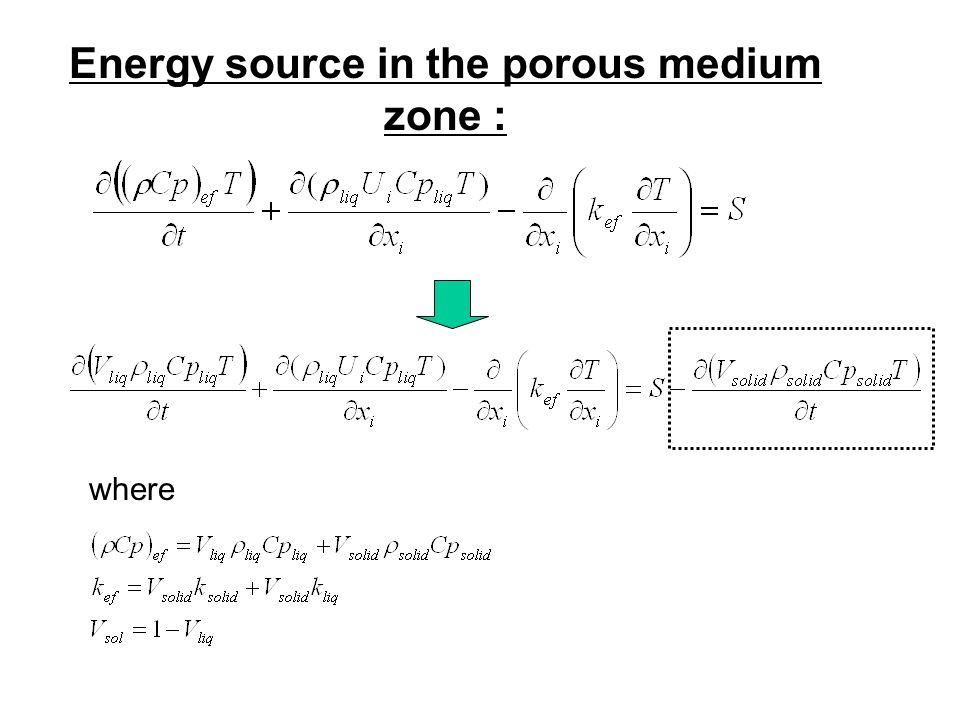 Energy source in the porous medium zone : where