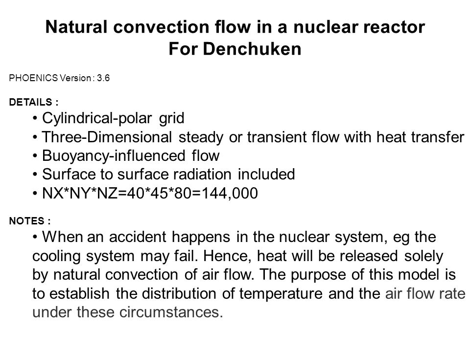 Natural convection flow in a nuclear reactor For Denchuken PHOENICS Version : 3.6 DETAILS : Cylindrical-polar grid Three-Dimensional steady or transie