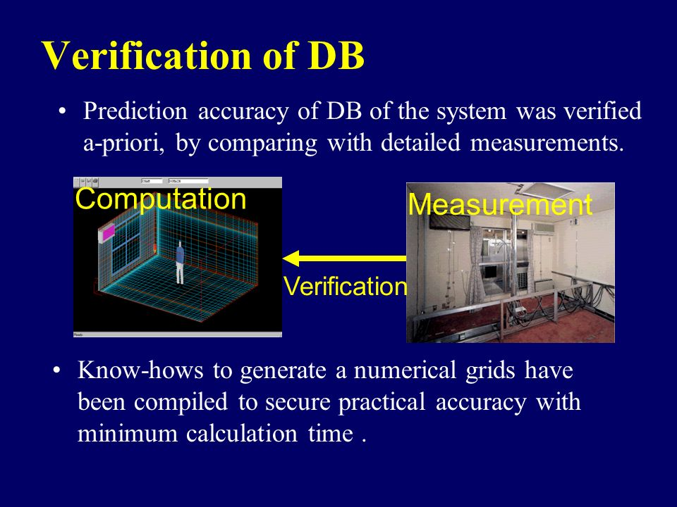 Verification of DB Computation Measurement Verification Prediction accuracy of DB of the system was verified a-priori, by comparing with detailed meas