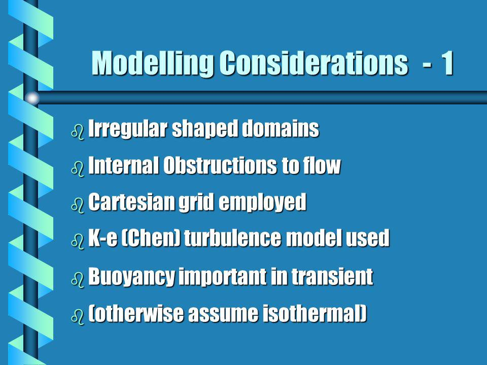 Modelling Considerations - 1 b Irregular shaped domains b Internal Obstructions to flow b Cartesian grid employed b K-e (Chen) turbulence model used b