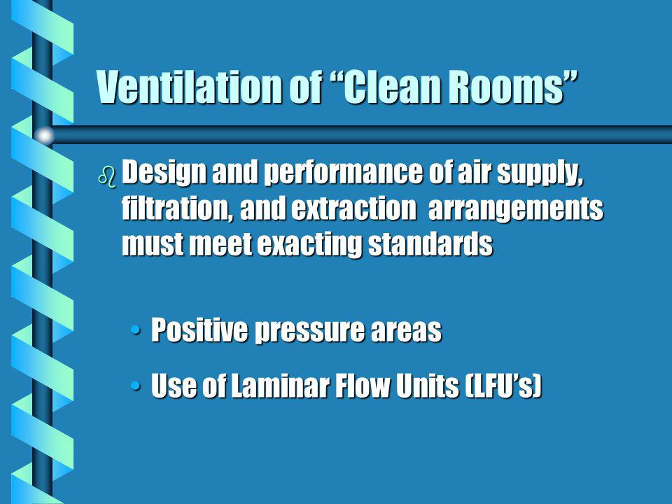 Ventilation of Clean Rooms b Design and performance of air supply, filtration, and extraction arrangements must meet exacting standards Positive press