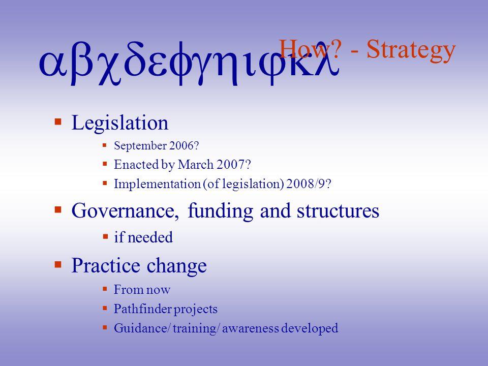 abcdefghijkl How? - Strategy Legislation September 2006? Enacted by March 2007? Implementation (of legislation) 2008/9? Governance, funding and struct