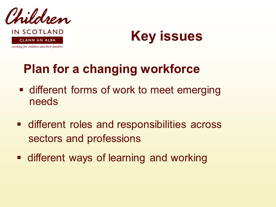 Key issues Plan for a changing workforce different forms of work to meet emerging needs different roles and responsibilities across sectors and professions different ways of learning and working