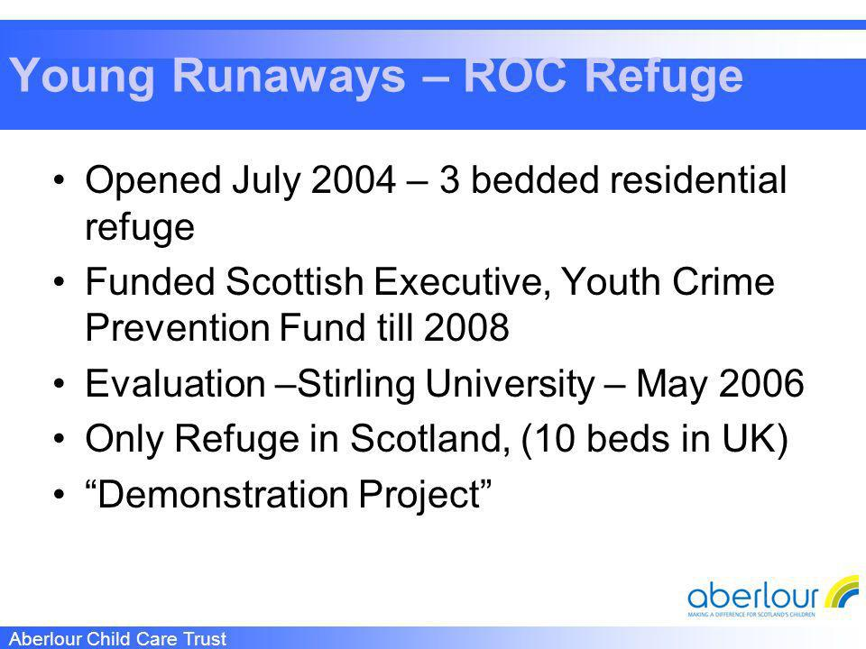 Aberlour Child Care Trust Young Runaways – ROC Refuge Opened July 2004 – 3 bedded residential refuge Funded Scottish Executive, Youth Crime Prevention Fund till 2008 Evaluation –Stirling University – May 2006 Only Refuge in Scotland, (10 beds in UK) Demonstration Project