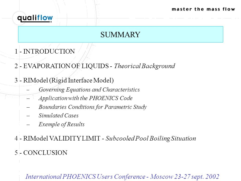 International PHOENICS Users Conference - Moscow 23-27 sept. 2002 Velocity