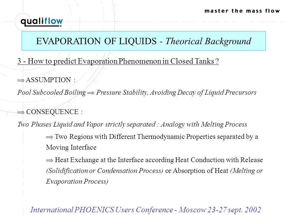 RIModel - Governing Equations and Characteristics International PHOENICS Users Conference - Moscow 23-27 sept.