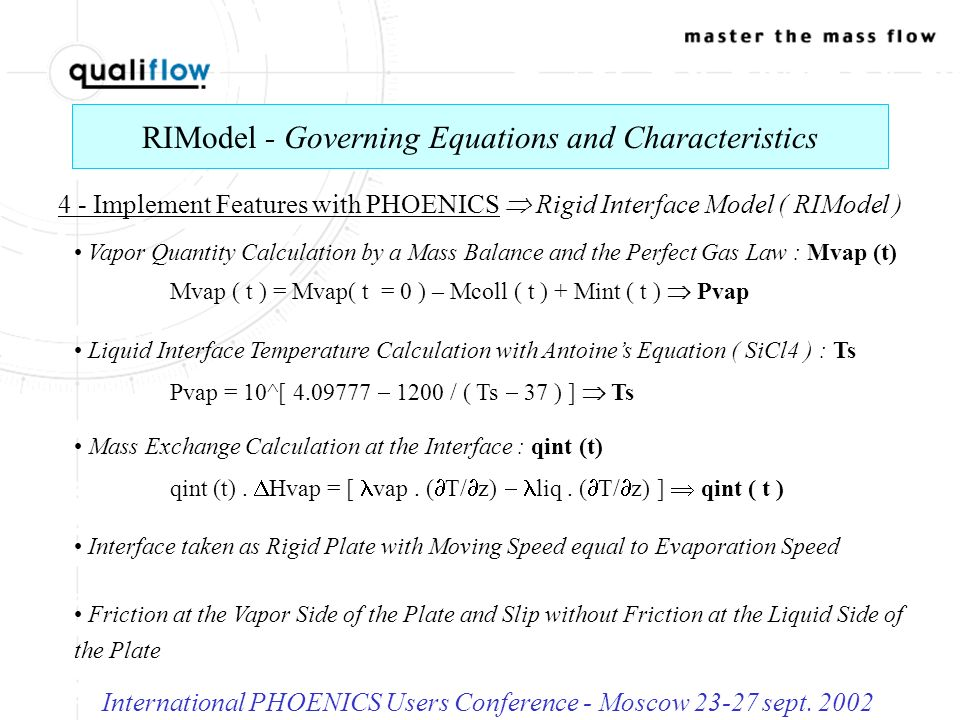 RIModel - Application with the PHOENICS Code International PHOENICS Users Conference - Moscow 23-27 sept.