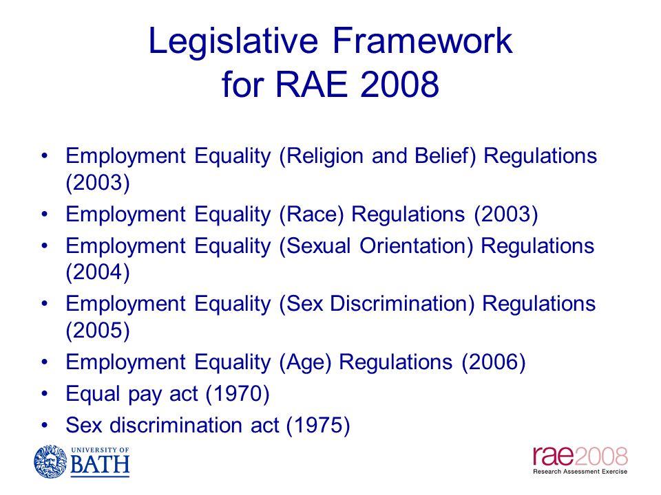 Legislative Framework for RAE 2008 Employment Equality (Religion and Belief) Regulations (2003) Employment Equality (Race) Regulations (2003) Employme