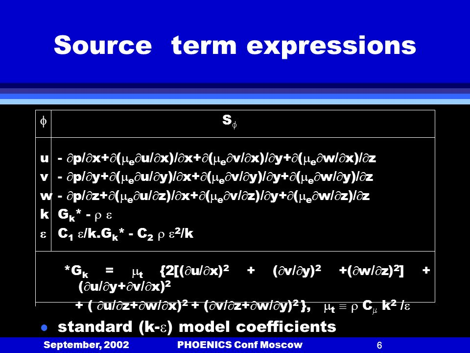 September, 2002 PHOENICS Conf Moscow6 Source term expressions S u- p/ x+ ( e u/ x)/ x+ ( e v/ x)/ y+ ( e w/ x)/ z v- p/ y+ ( e u/ y)/ x+ ( e v/ y)/ y+ ( e w/ y)/ z w- p/ z+ ( e u/ z)/ x+ ( e v/ z)/ y+ ( e w/ z)/ z kG k * - C 1 /k.G k * - C 2 2 /k *G k = t {2[( u/ x) 2 + ( v/ y) 2 +( w/ z) 2 ] + ( u/ y+ v/ x) 2 + ( u/ z+ w/ x) 2 + ( v/ z+ w/ y) 2 }, t C k 2 / l standard (k- ) model coefficients