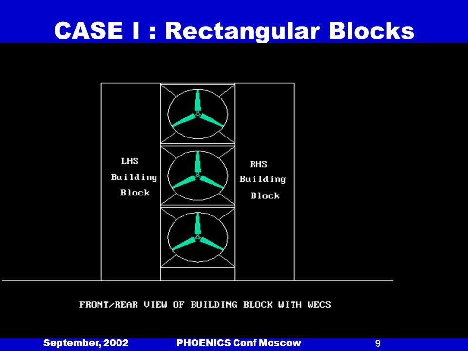 September, 2002 PHOENICS Conf Moscow9 CASE I : Rectangular Blocks w/o Bottom Pass