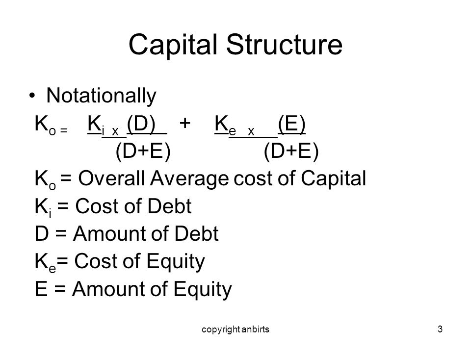 copyright anbirts14 Capital Structure Arbitrage Support Co A Co B Net Op Income 10,000 10,000 Interest on debt (12% pa) nil 3,600 Net earnings 10,000 6,400 Equity req return.15.16 Market Value of equity 66,667 40,000 Market value of debt nil 30,000 Total value of the firm 66,667 70,000