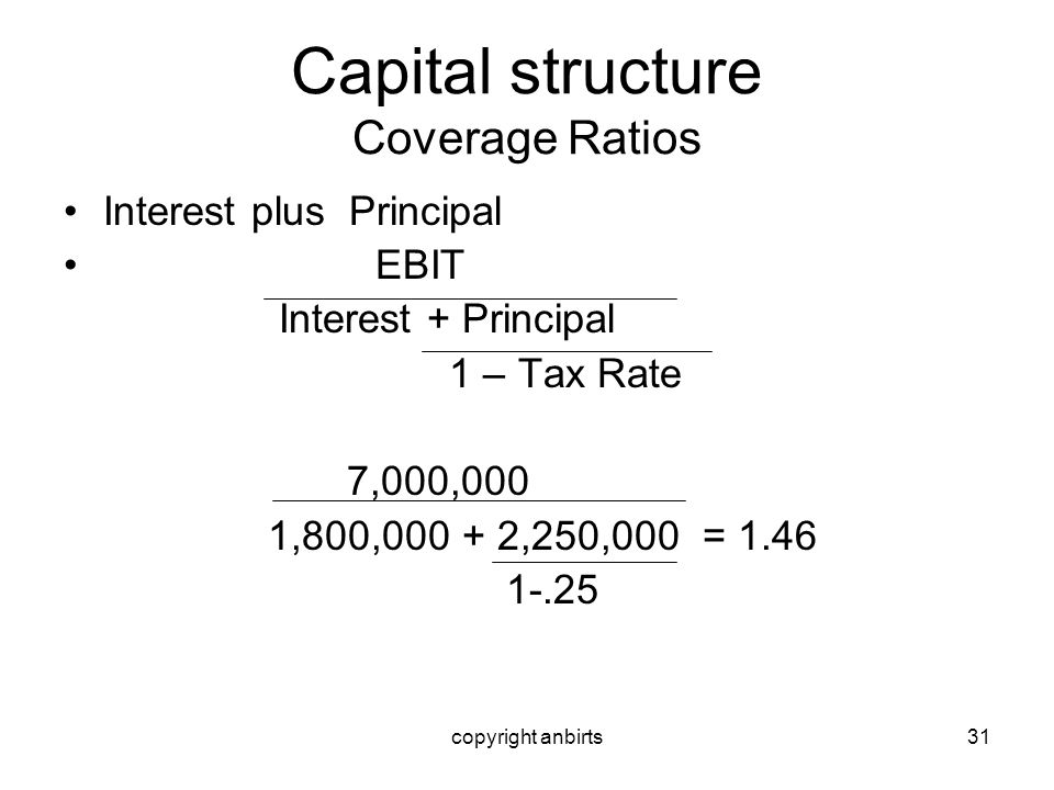 copyright anbirts31 Capital structure Coverage Ratios Interest plus Principal EBIT Interest + Principal 1 – Tax Rate 7,000,000 1,800,000 + 2,250,000 =