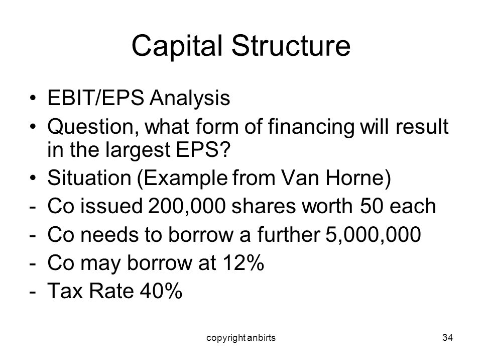 copyright anbirts34 Capital Structure EBIT/EPS Analysis Question, what form of financing will result in the largest EPS? Situation (Example from Van H
